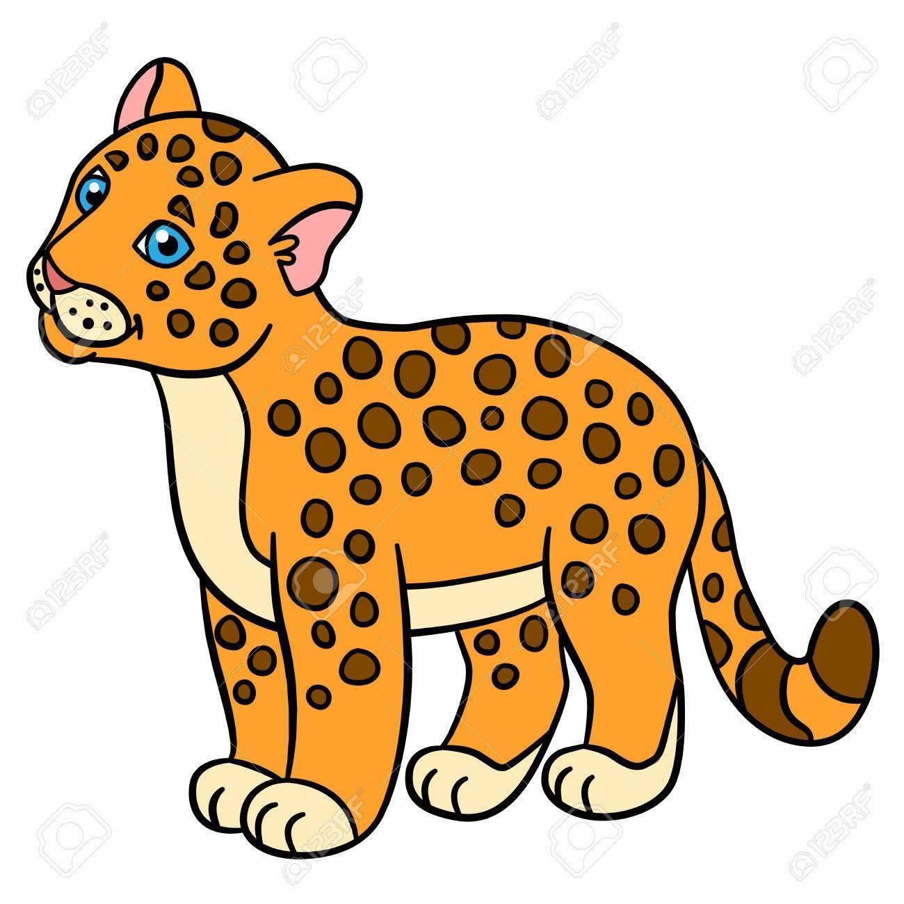 Jaguar cartoon clipart clip black and white Cartoon animals for kids. Little baby jaguar smiles ... clip black and white