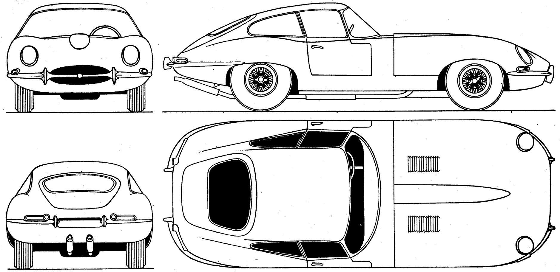 Jaguar e type clipart clip black and white 1961 Jaguar E-Type Coupe blueprints free - Outlines clip black and white