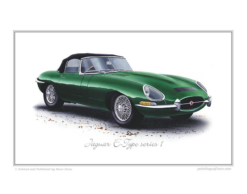 Jaguar e type clipart image transparent download Jaguar E-Type Series1 Car Art Print image transparent download