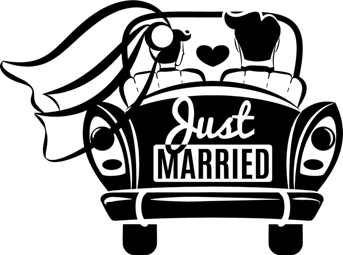 Jalopy car clipart banner black and white download Just Married Car Rubber Stamp | Wedding Stamps – Stamptopia banner black and white download