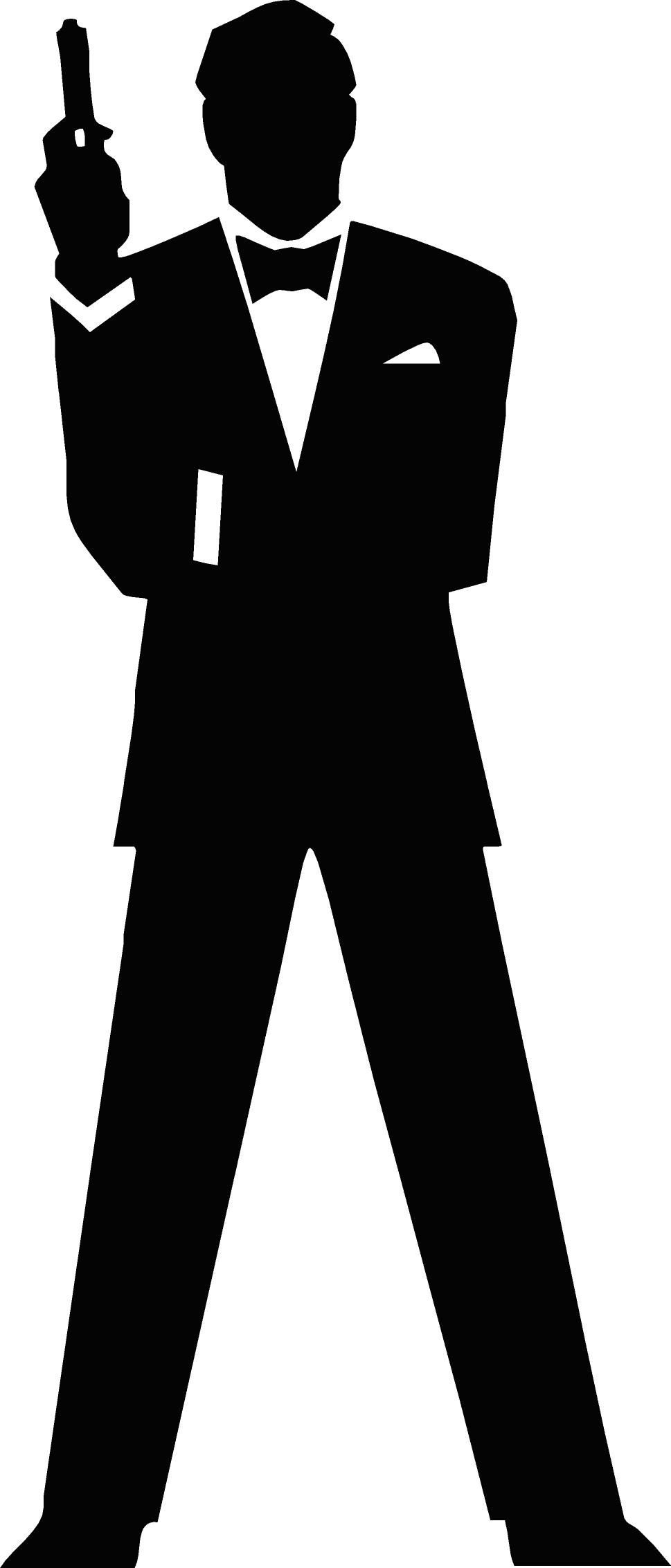 James bond clipart free image transparent free vector James Bond Secret Agent 007 Black & White Silo   Prom 16 ... image transparent
