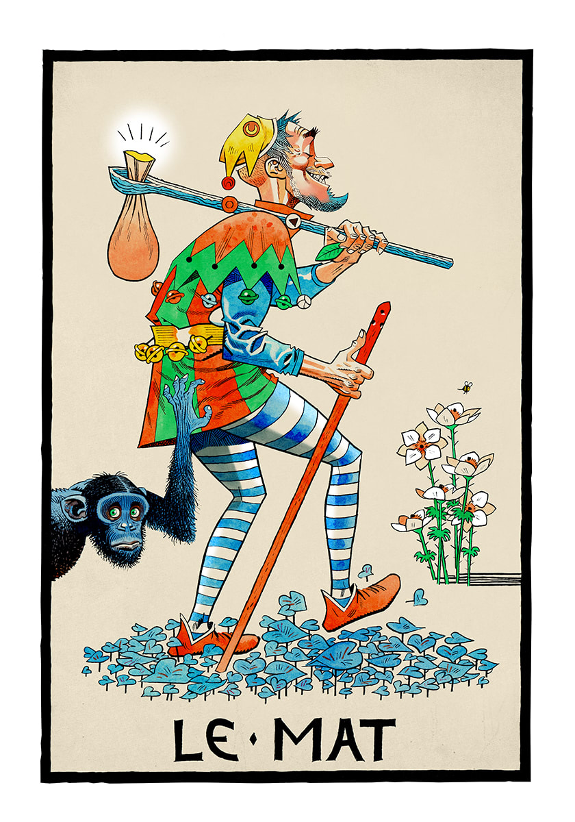 Jamie hewlett clipart graphic royalty free Jamie Hewlett, Le Mat (The Fool), 2015 | Lazinc graphic royalty free
