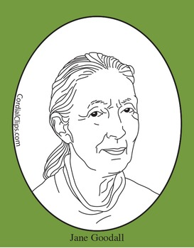 Jane goodall clipart clip free Jane Goodall Clip Art, Coloring Page or Mini Poster clip free