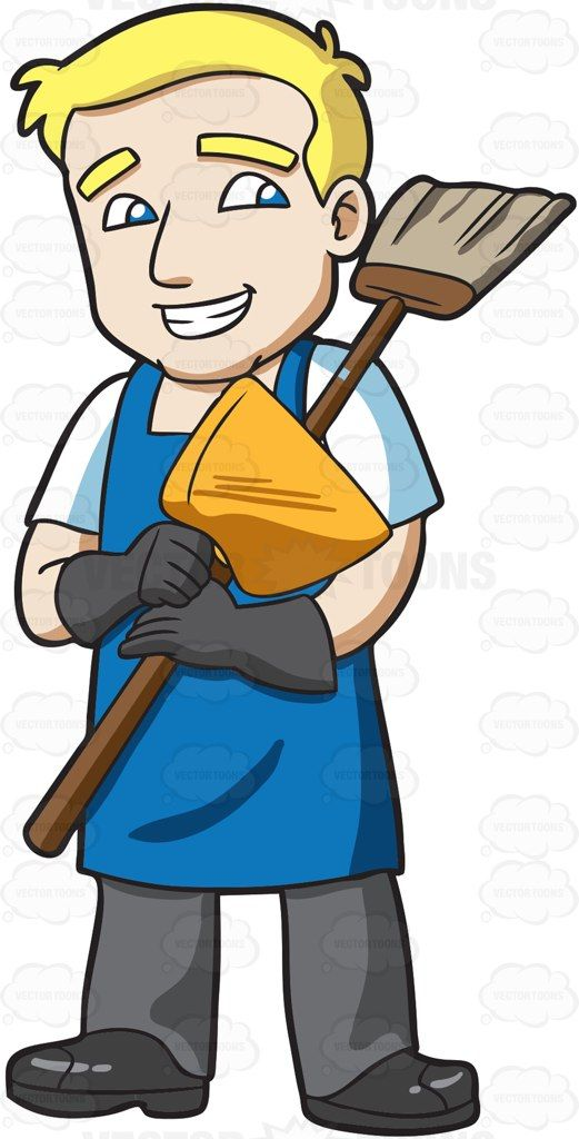Janitor clipart picture royalty free download A janitor holding a broom and dustpan #cartoon #clipart #vector ... picture royalty free download