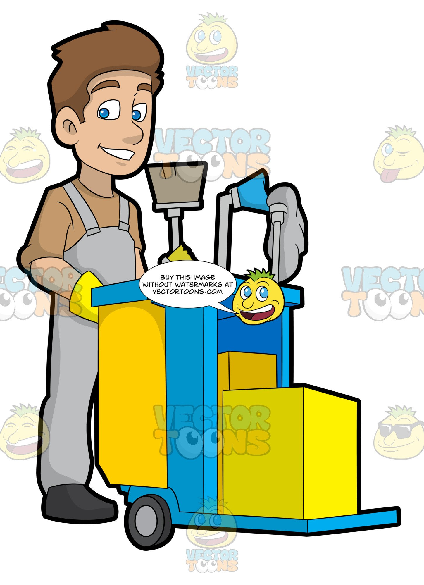 Janitor clipart png transparent A Happy Janitor Pushing His Cart png transparent
