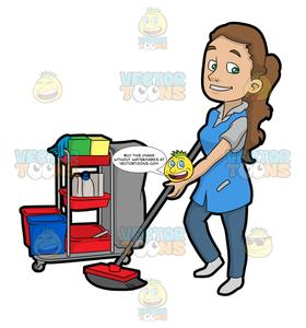 Janitor clipart graphic freeuse download A Pretty Female Janitor Cleaning The Floor graphic freeuse download