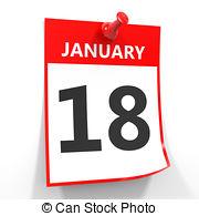 January 18th calendar clipart jpg freeuse Stock Illustration of Calendar. 18 January. - Calendar on white ... jpg freeuse