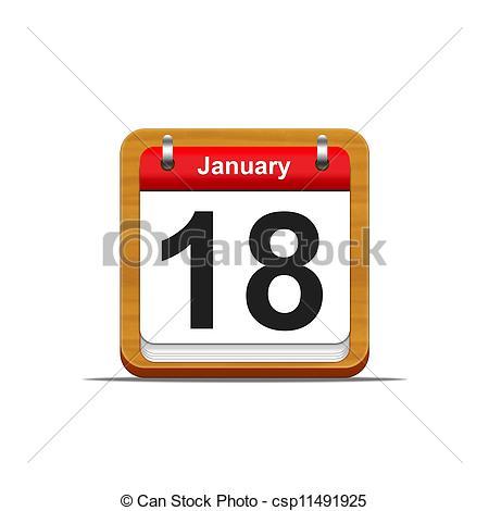 January 18th calendar clipart png freeuse download Clip Art of January 18. - Illustration elegant wooden calendar on ... png freeuse download