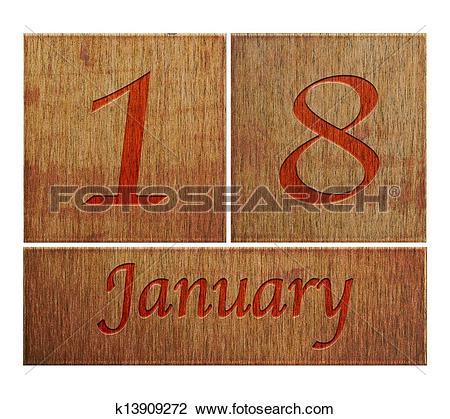 January 18th calendar clipart banner transparent stock Stock Photo of Wooden calendar January 18. k13909272 - Search ... banner transparent stock