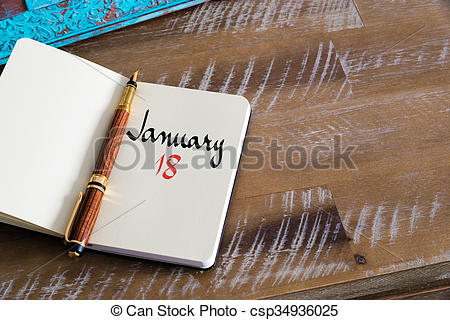 January 18th calendar clipart library Stock Photo of January 18 Calendar Day handwritten on notebook ... library
