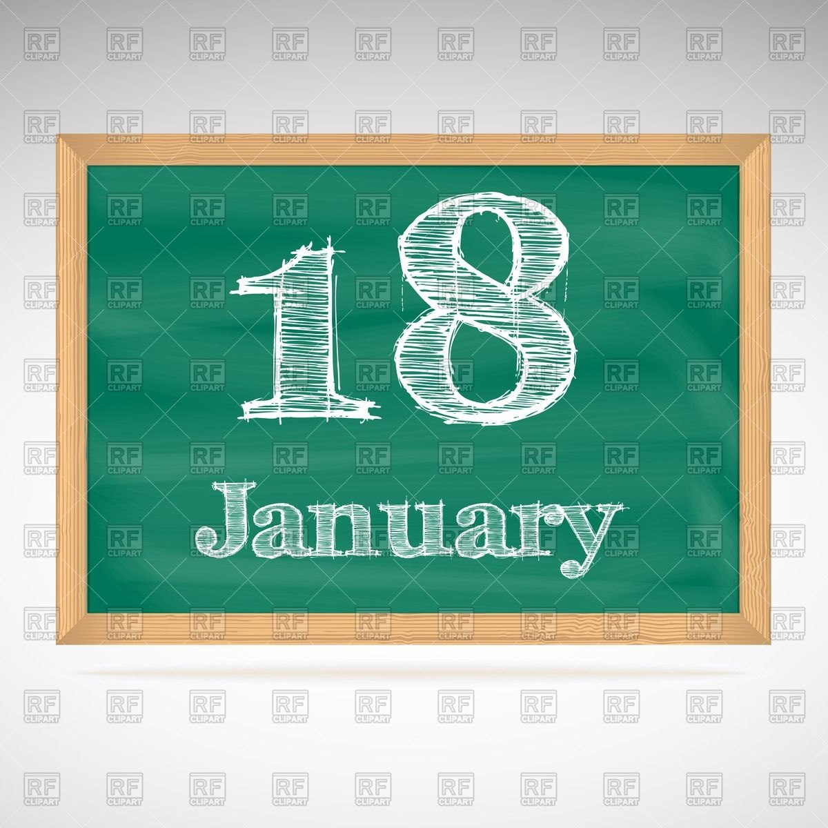 January 18th calendar clipart graphic black and white library School blackboard calendar with inscription in chalk January 18 ... graphic black and white library