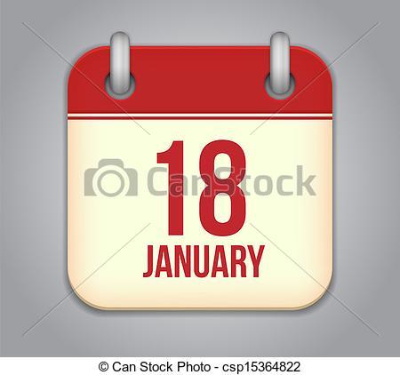 January 18th calendar clipart vector free Vector Illustration of Vector calendar app icon. 18 January ... vector free