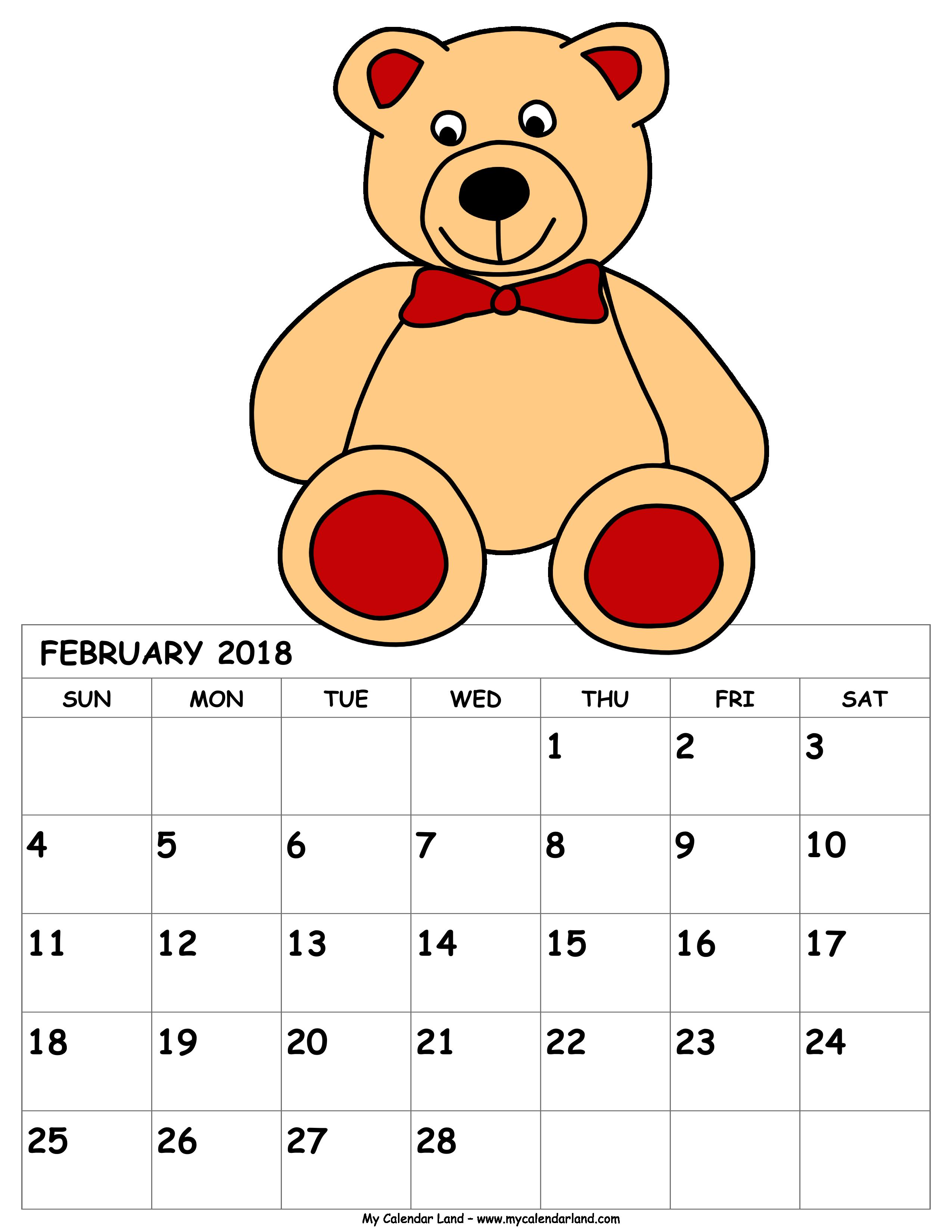 January 18th calendar clipart jpg black and white February 2018 Calendar - My Calendar Land jpg black and white