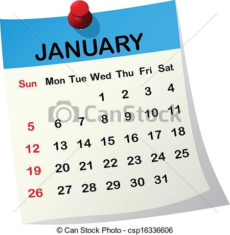 January 2014 calendar clipart jpg freeuse Vector Clipart of 2014 calendar for January. - 2014 paper sheet ... jpg freeuse