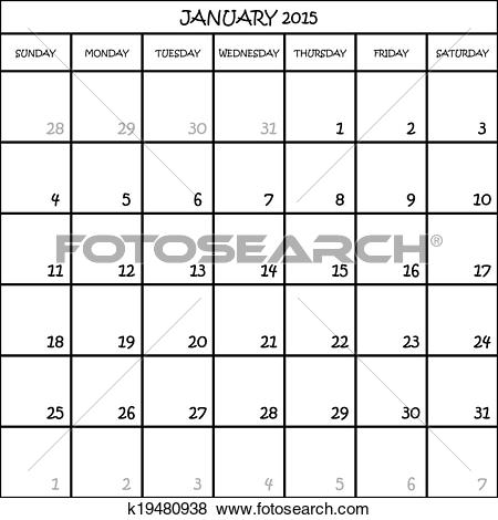 January 2015 calendar clipart picture black and white library Clip Art of JANUARY 2015 CALENDAR PLANNER MONTH ON TRANSPARENT ... picture black and white library