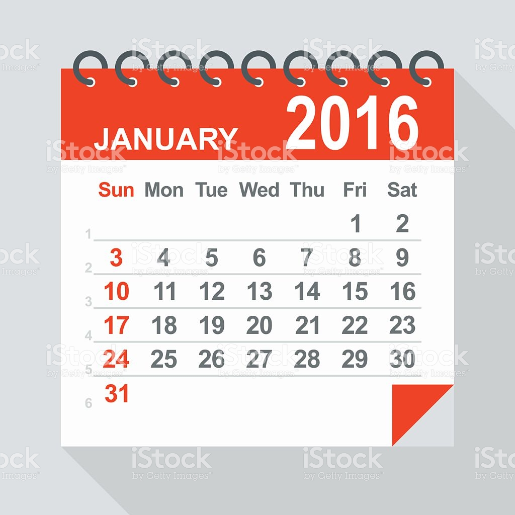 January 2016 calendar clipart clip black and white download January 2016 Calendar Illustration stock vector art 485427312   iStock clip black and white download