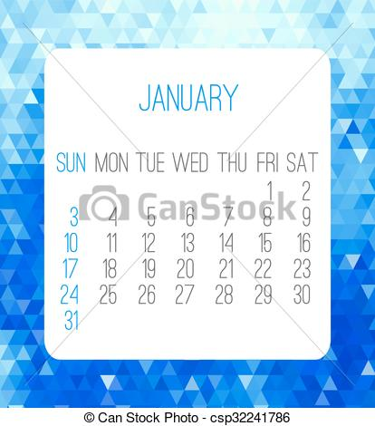 January 2016 month clipart image free Vector of January 2016 month calendar - January 2016 vector month ... image free