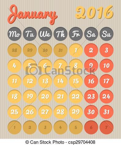 January 2016 month clipart banner transparent Vector Clipart of Month planning calendar - January 2016 - Modern ... banner transparent