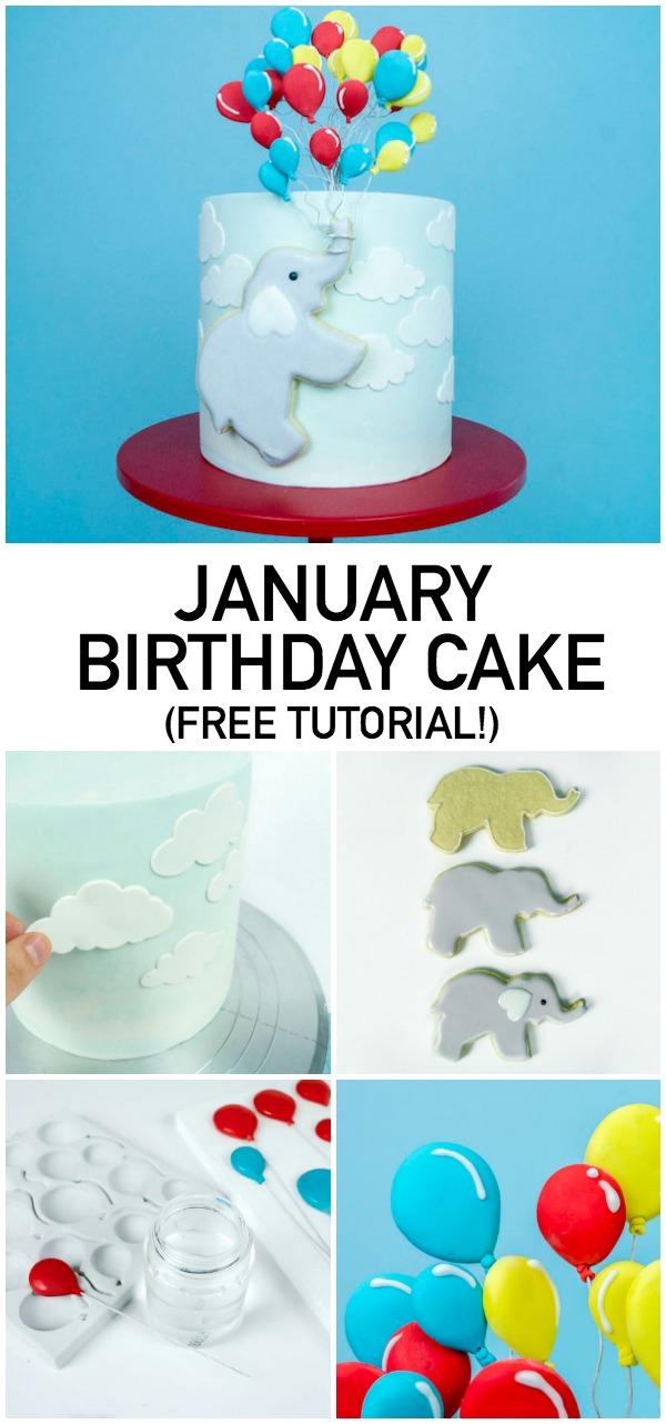 January birthday cake clip art image transparent Elephant + Balloons Birthday Cake Decorating Tutorial image transparent
