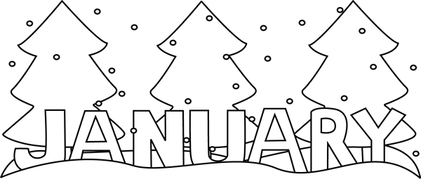 January black and white clipart image freeuse download Black and White Winter Month of January Clip Art - Black and White ... image freeuse download