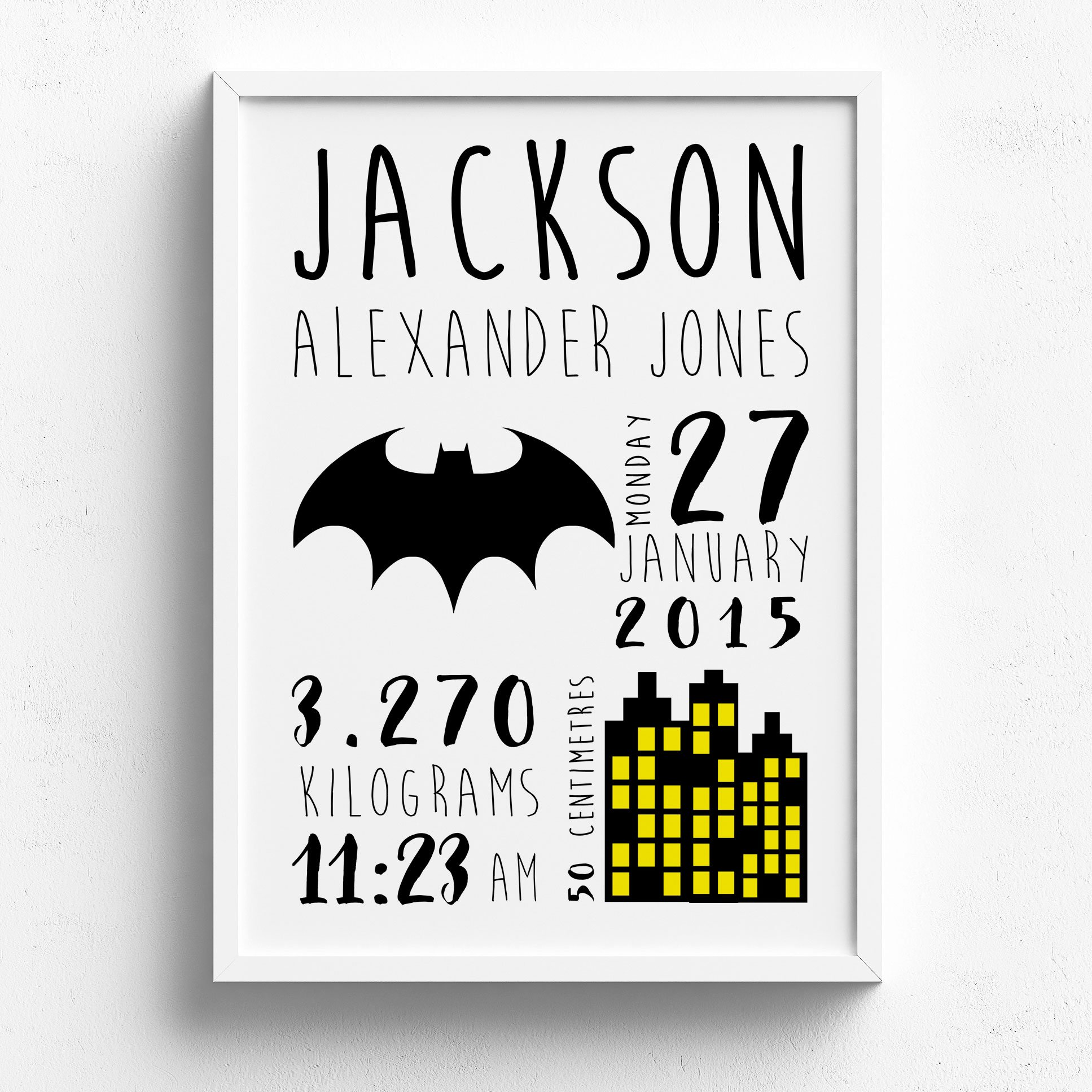 January clipart black and white nursery png library library Personalised Batman Birth Announcement Nursery or Bedroom Wall Art Print png library library