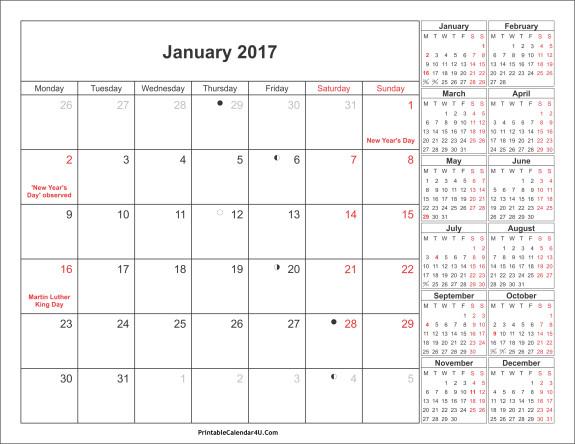 January holidays calendar clipart clip art black and white 2017 Calendar Clipart clip art black and white