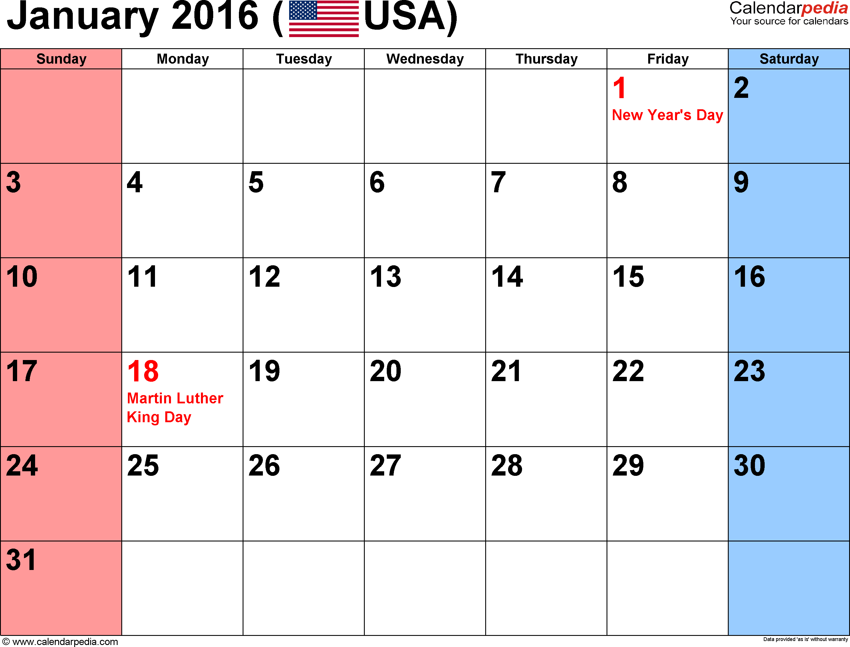 January holidays calendar clipart jpg library stock Free printable 2016 calendar with holidays and clipart - ClipartFest jpg library stock