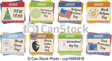 January holidays calendar clipart jpg transparent stock Vector Clip Art of World holidays. January - World holidays ... jpg transparent stock