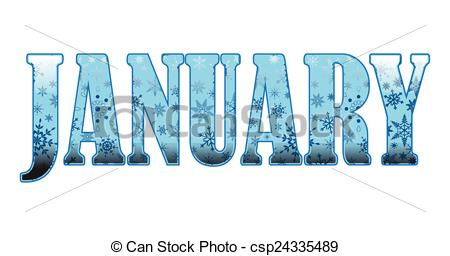 January month clip art clip freeuse download Vector of January - Decorative text spelling the first month of ... clip freeuse download
