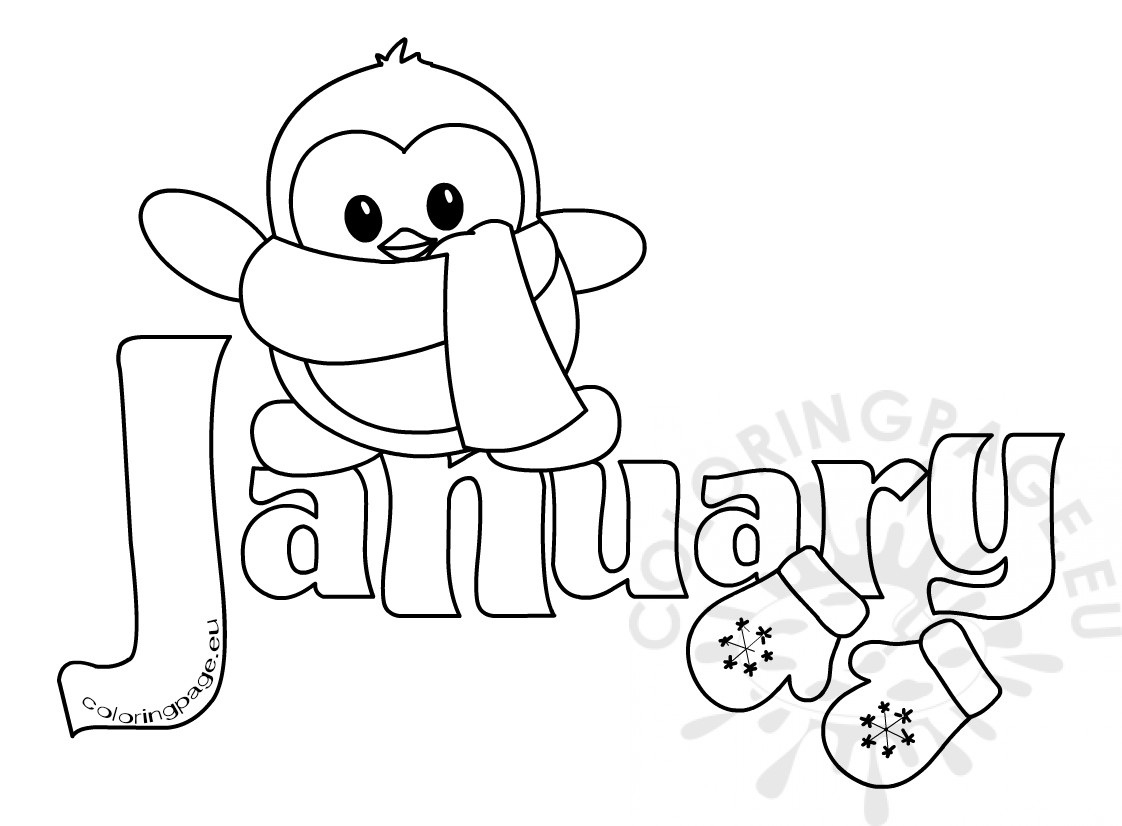 January month clipart svg black and white library Winter Month Of January Clipart Kid | Coloring Page with regard to ... svg black and white library