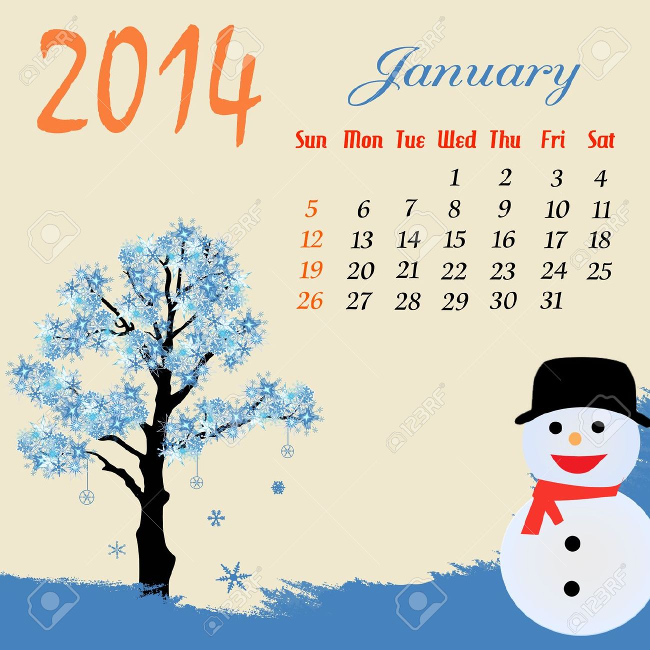 January snowman calendar clipart banner black and white library Calendar For 2014 January With Winter Tree And Snowman Royalty ... banner black and white library