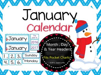 January snowman calendar clipart image transparent January Calendar Set | Snowflakes, Chevron borders and Pocket charts image transparent