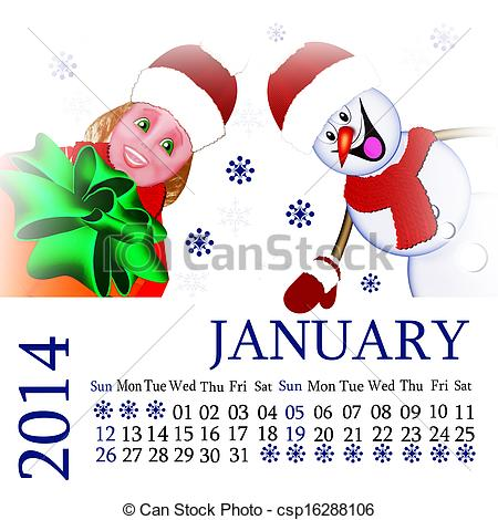 January snowman calendar clipart png free Stock Illustration of Child. Snowman. calendar 2014. January ... png free