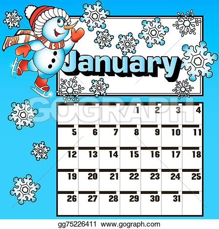 January snowman calendar clipart banner free download Vector Illustration - calendar for january snowman skates and ... banner free download