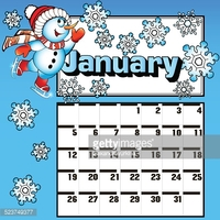 January snowman calendar clipart banner transparent Calendar for January Snowman Skates and Snowflakes stock vectors ... banner transparent