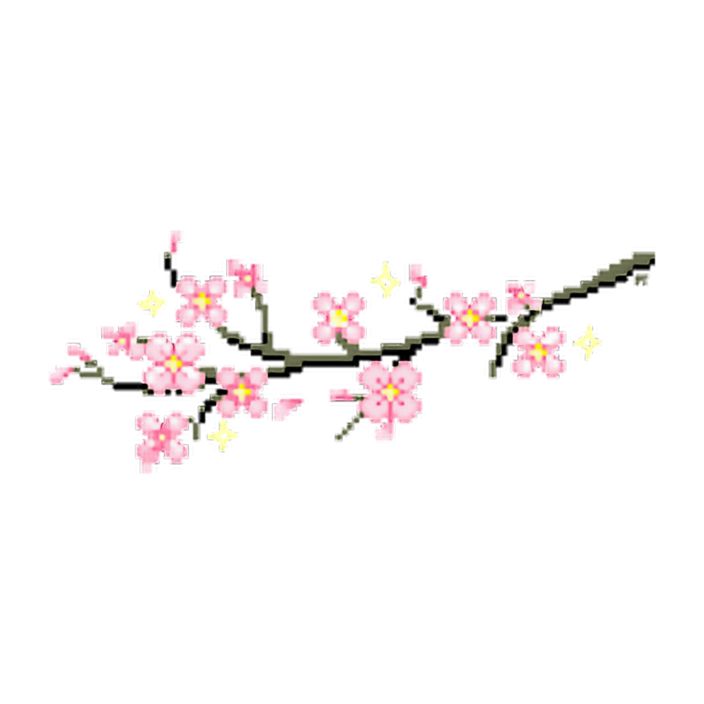 sakura japan flower 8pix pixel pink aesthetic kawaii... png free stock