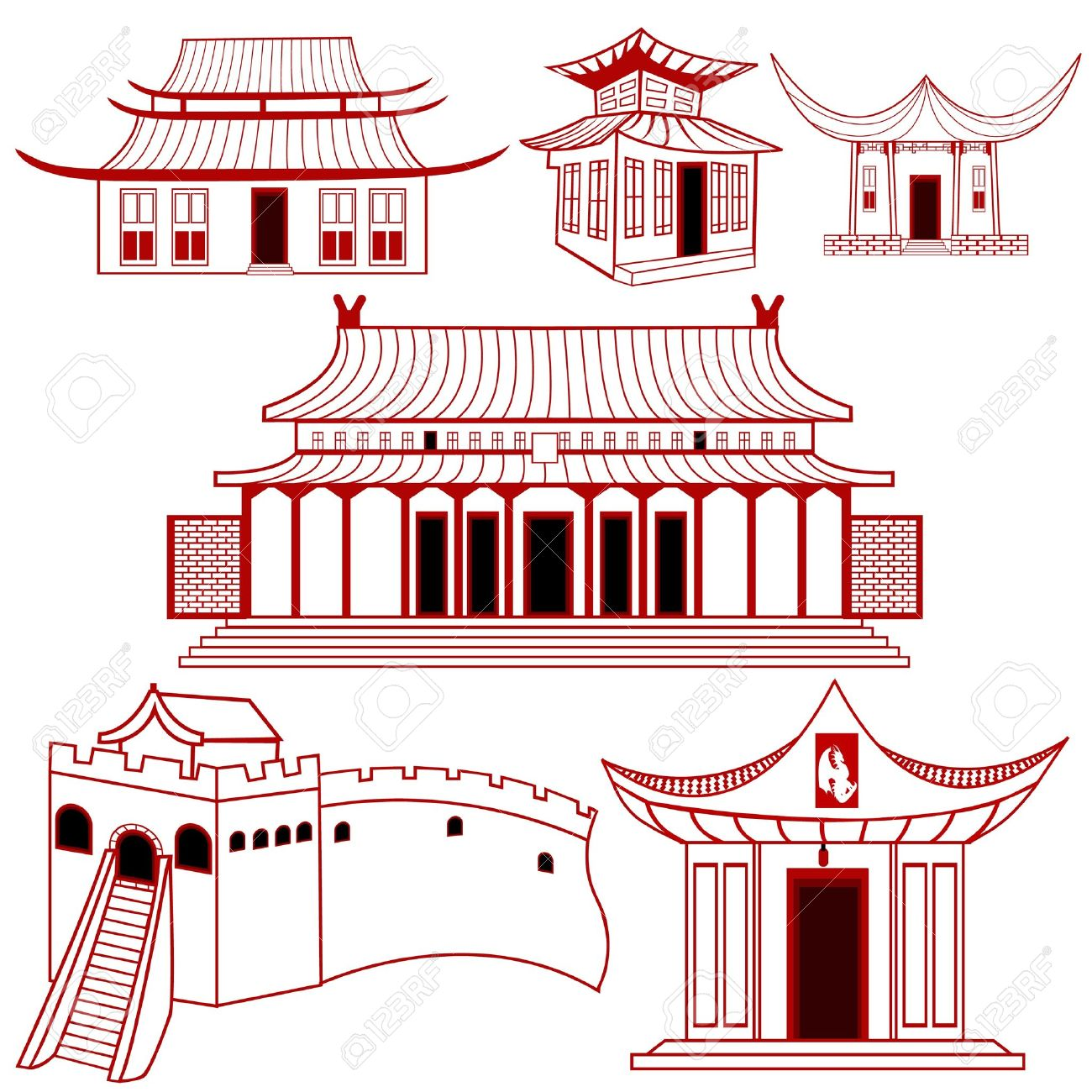 Japan traditional house clipart clipart black and white library Japan traditional house clipart - ClipartFest clipart black and white library