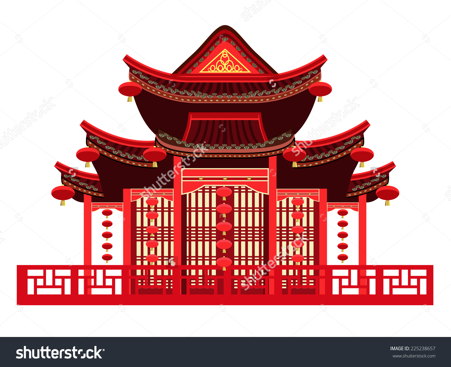 Japan traditional house clipart clipart free stock Traditional Chinese House Typical Chinese Lanterns Stock Vector ... clipart free stock