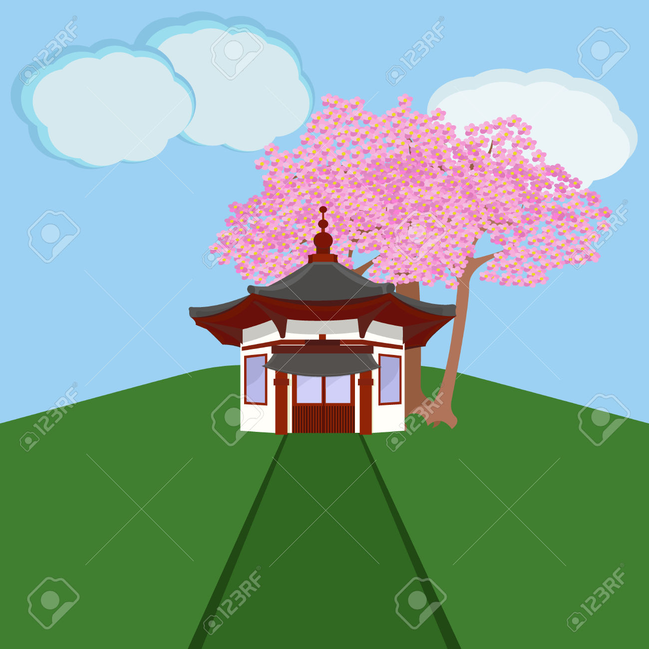 Japan traditional house clipart clip freeuse library Traditional Chinese House With Typical Chinese Lanterns Asian ... clip freeuse library