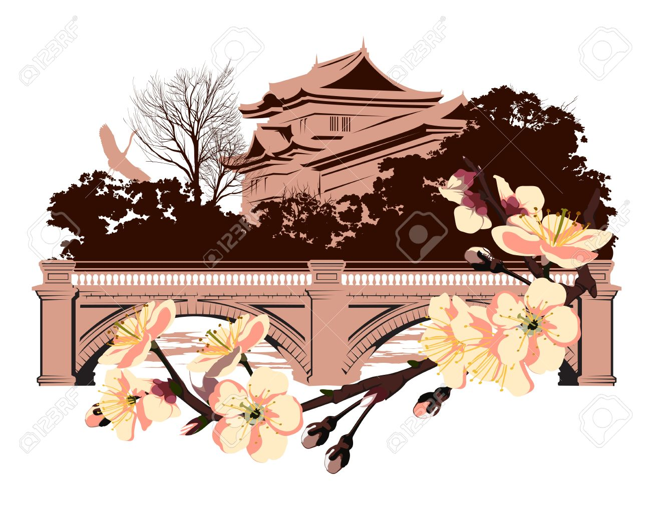 Japan traditional house clipart png stock Cherry Blossom On A Background Of Japanese House Royalty Free ... png stock