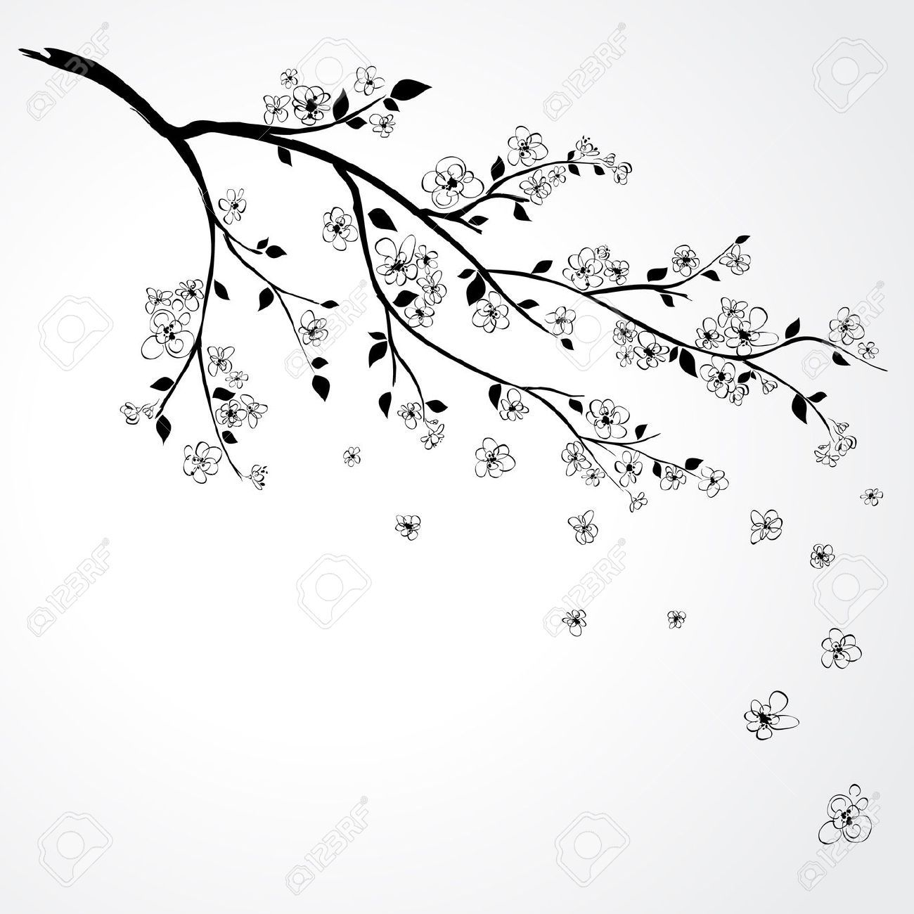 Japanese cherry blossom black and white clipart vector black and white download white cherry blossom branch clipart - Google Search | Dol | Japanese ... vector black and white download