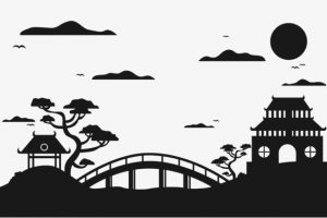 Japanese garden clipart vector black and white Japanese garden clipart » Clipart Portal vector black and white