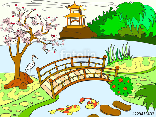 Japanese garden clipart graphic black and white library Nature of Japan color book for children cartoon. Japanese garden ... graphic black and white library