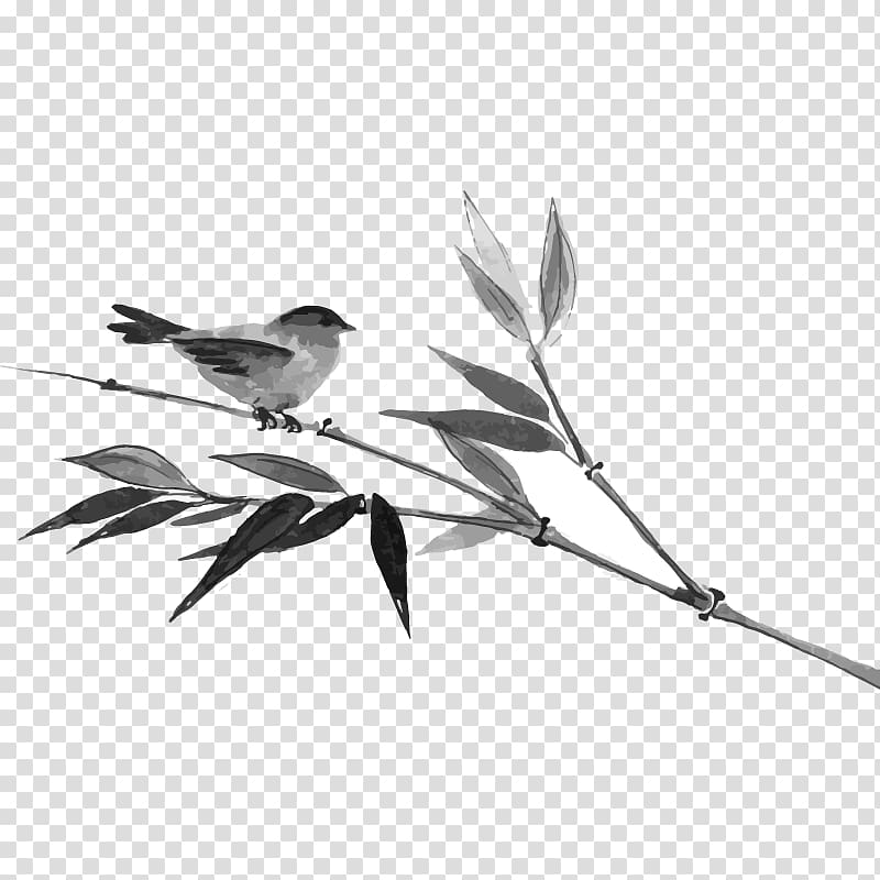 Japanese ink painting clipart graphic freeuse library Gray passerine bird perching on stem of plant illustration, Japanese ... graphic freeuse library