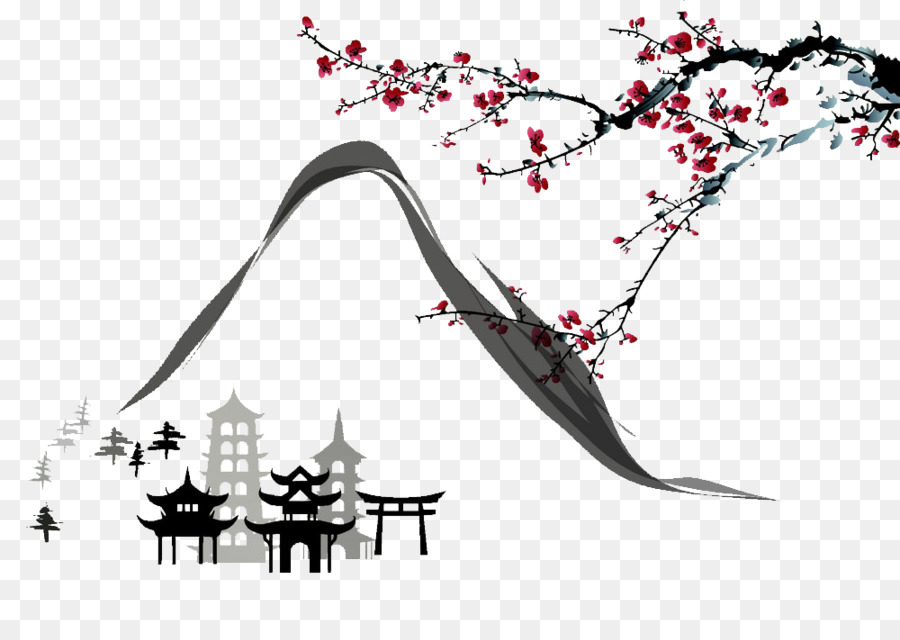 Japanese ink painting clipart picture freeuse library Black And White Flower png download - 1000*693 - Free Transparent ... picture freeuse library