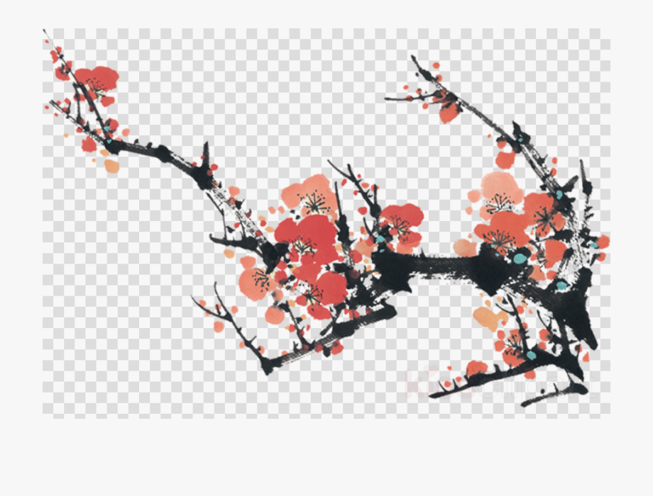 Japanese ink painting clipart banner black and white Cherry Blossom Png - Japanese Ink Painting Png #1009524 - Free ... banner black and white
