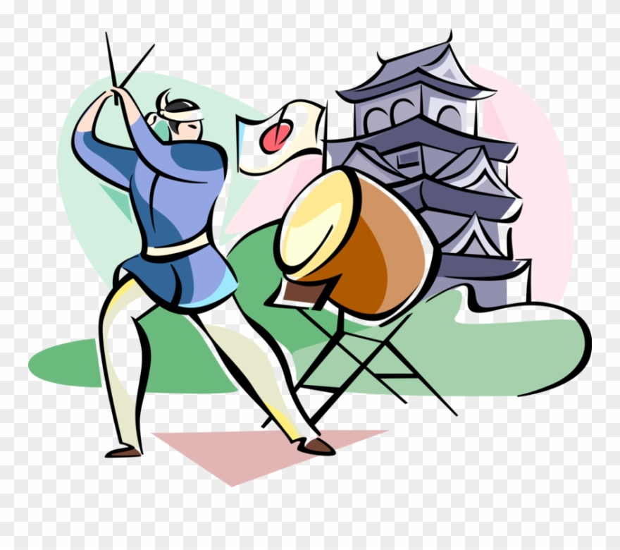 Japanese musicans clipart png royalty free download Vector Illustration Of Japanese Taiko Drummer Musician Clipart ... png royalty free download
