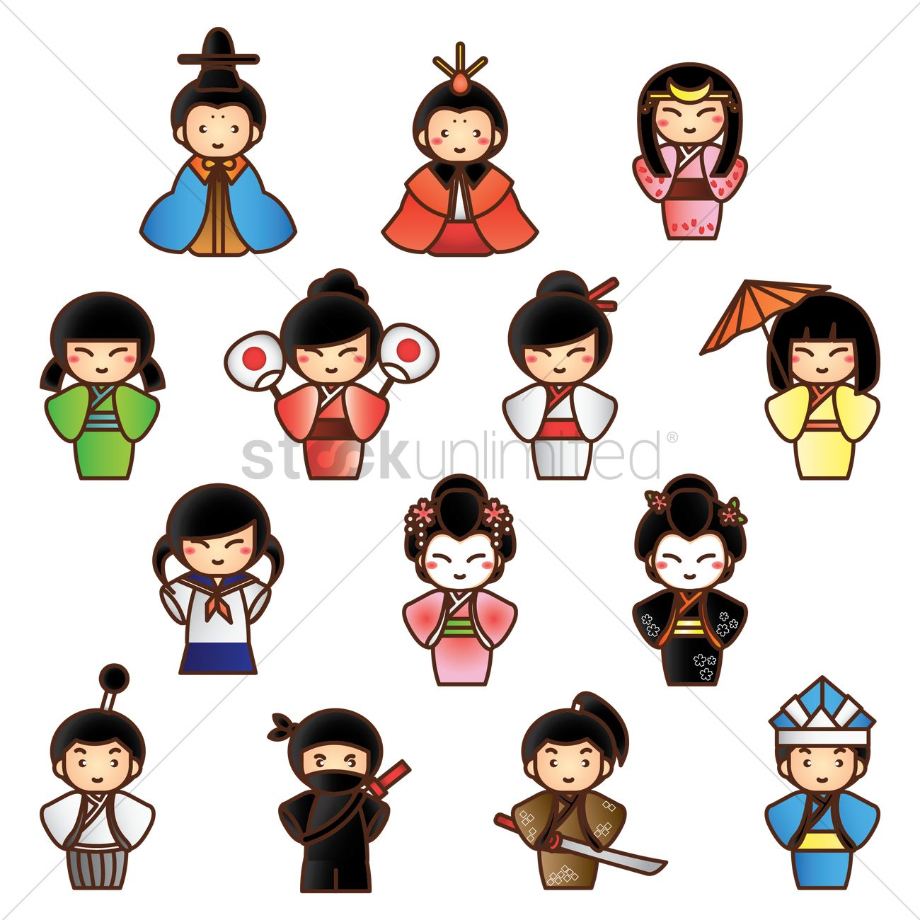 Japanese people clipart svg freeuse stock Collection of traditional japanese people Vector Image - 1592792 ... svg freeuse stock