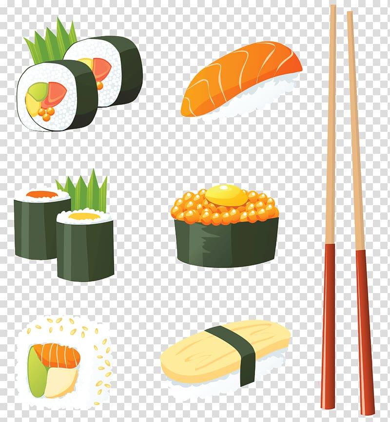 Japanese restaurant clipart svg transparent stock Assorted sushi illustration, Sushi Japanese Cuisine Seafood ... svg transparent stock