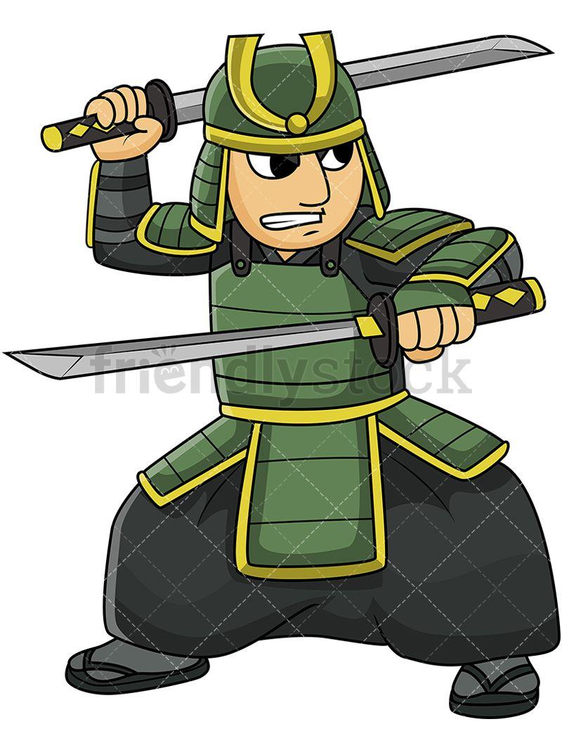 Japanese samurai clipart clipart free library Japanese Bushi Warrior Dual Wielding Katana Swords | kaguya in 2019 ... clipart free library